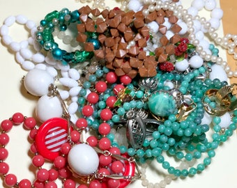 Vintage jewelry lot for craft harvest, jewelry supplies, assemblage supplies, vintage craft lot, broken jewelry lot, L4