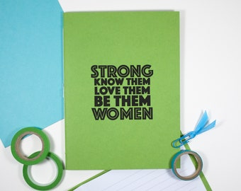 Strong Women Notebook – Lined Journal – 5 x 6.75 inch Lined Notebook – Travelers Notebook