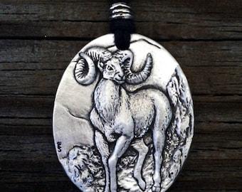 Bighorn Sheep Pewter Pendant