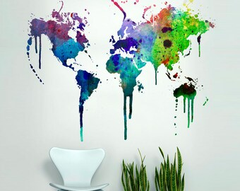 World Map Watercolor Decal - Watercolor World Map - Wall Sticker - Wall Decal - World Map Wall Sticker - World Map Wall Art - SKU:WMWATCOL