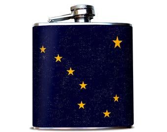 Alaska Flag Flask, Alaska North Sky, Anchorage Alaska, Night Sky Flask, Alaska Flask, Stainless Steel Flask