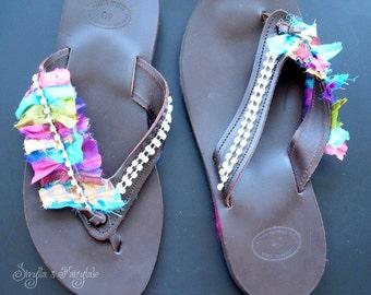 Saris fantasy - Leather sandals - Flip flops