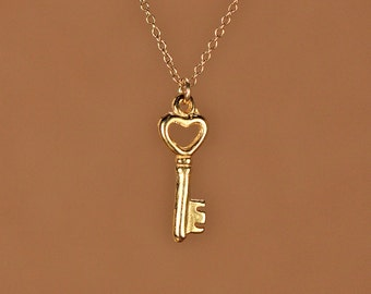 Gold key necklace - tiny key necklace - key necklace - a little 22k gold plated skeleton key on a 14k gold vermeil chain