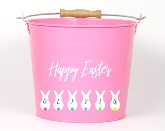 Personalized Bunny Name Easter Pail - Choose The Color - Easter Basket Easter Bucket Easter Tin for Girls and Boys