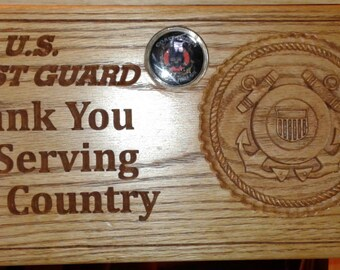 US COAST GUARD Thanks for Serving Wall Plaque& Coin
