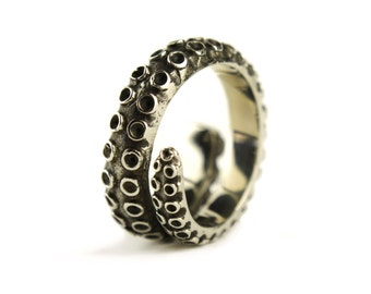 Octopus Tentacle Ring Antique Silver Color Adjustable Ring Wrap Ring Boho Steampunk Jewelry - FRI005