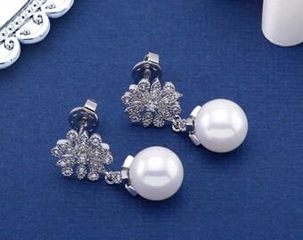 Boucles d'oreilles perles, boucles d'oreilles mariées, mariage, boucles d'oreilles, les demoiselles d'honneur bijoux, boucles d'oreilles CZ, CZ perle, boucles d'oreilles mariée, boucles d'oreilles pendantes
