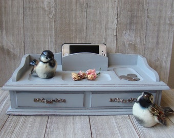 Gray Valet Box, Up Cycled Valet Tray, Desk Organization Box, Dresser Box, Hand Painted Valet Box, Chalk Painted Valet