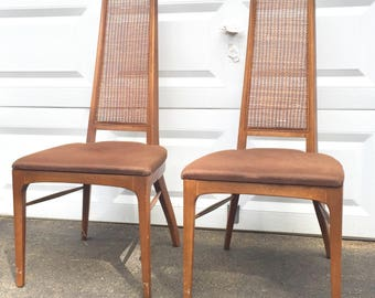 Pair Mid-Century Dining Chairs with Cane Back