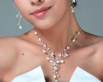 Bridal Jewelry Sets Ivory Pearls Wedding jewelry Set, Ivory Pearls Bridal Jewellery Sets, Gold Wedding Jewelry Sets, Swarovski Pearls