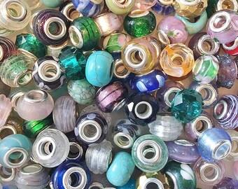 Mixed Lot European Glass Charm Beads 920g (Ap. 400 Beads)