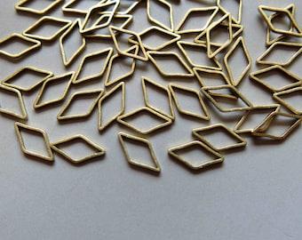 300pcs Raw Brass Rhombus Rings , Findings 10mm x 5mm - F306