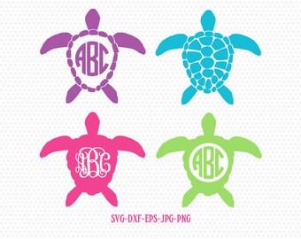Sea Turtle SVG, Sea Turtle Monogram frames SVG, Sea Turtle Silhouettes,summer beach svg, for CriCut Silhouette cameo Files svg jpg png dxf