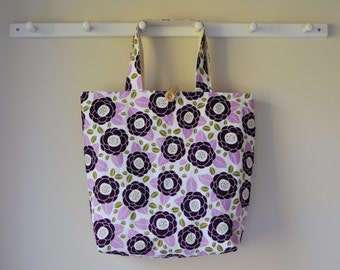 Large Fabric Tote - Purple Floral Bag - Shopping Bag - Grocery Bag - Canvas tote - Gift for Her - Washable Tote - Custom Bridesmaid Tote