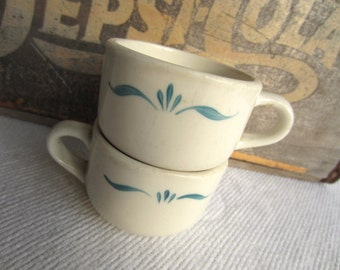 Vintage Trend Syracuse China Cups Turquiose Scrolls Normandy Pattern