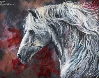 Grau, Pferd, Pferde Kunst, Andalusier, Pferdesport Porträt, original Ölgemälde an Bord