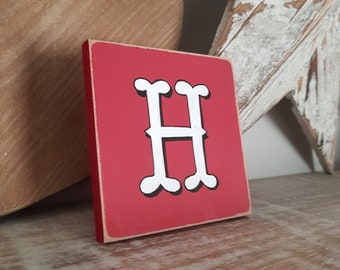 personalised letter blocks, initials, wooden letters, monograms, letter H,  10cm square, hand painted