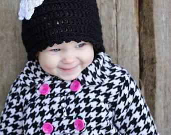 Baby Crochet Hat Pattern: 'Wintertime Love', Crochet Cloche,  Crochet Snowflake, Crochet Heart