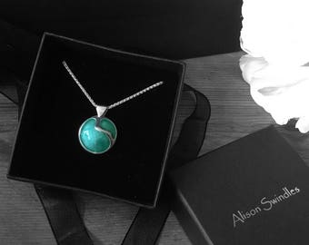 """Green enamel on silver pendant with 18"""" silver chain"""