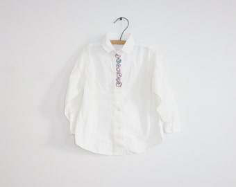 Vintage White Shirt with Clocks