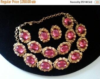 ON SALE Rare Vintage Tara Parure Pink Rhinestone Designer Signed 1950s High End Old Hollywood Glam Jewelry Necklace Bracelet Earring Set
