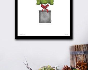 Scottie Scottish Terrier topiary dog garden artwork illustration by stephen fowler geministudio UNFRAMED