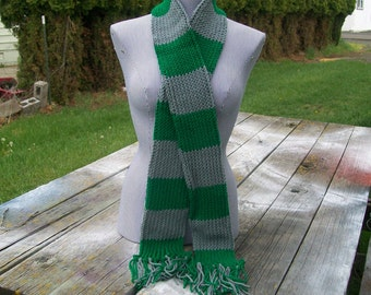 Knitted Gray and Green Striped Long Scarf Potter Ready To Ship