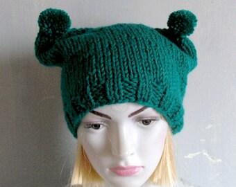 Green Knit Hat Cat Ears Hat Cat Beanie Chunky Knit Winter Cat Animals Hat cat ears hat St. Patricks DAY IRISH HAT Green Hat Chemo Headwear
