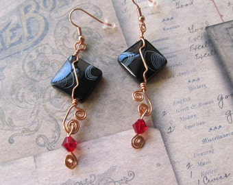 Item  9323 Black Etched Dangle Red Swavorski Copper Wire  Earrings
