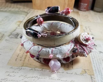 Shabby Chic Upcycled Stackable Bracelets