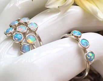 Blue Opal ring 925 sterling silver stacking ring triple bezel cabochon FREE POSTAGE Australian Seller boho chic