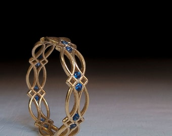 Celtic Ring - Eternity Ring - Sapphire Ring - Blue Stones ring - Gold Ring - Something blue - texture - pattern - victorian - gothic