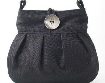 crossbody messenger bag, black tote bag, fabric handbag, black shoulder bag, black purse, diaper bag, crossbody purse, black bag