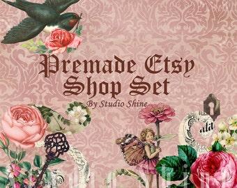 Etsy Shop Set - Premade Etsy Banner - Etsy Shop Banner - Etsy Cover - Etsy Shop Icon - Avatar - Thumbelina
