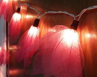 string lights pink leaf bodhi 20 flowers handmade string light party patio fairy decor wedding