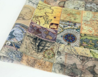 Laminated Cotton Vintage World Map printed Fabric made in Korea by the Yard