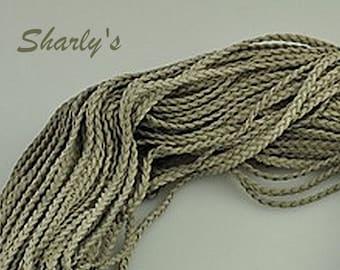 1 m grey braided suede cord