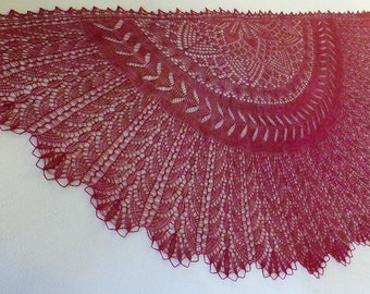 """Stunning Lace, Hand-knit, """"Desert Flowers"""" Shawl in Blue-faced Leicester and Silk"""