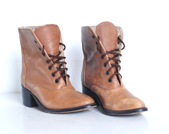 Vintage Leather Boots, Military Shoes Womens size 5 or 6 Military Mid Century Calf Camel Brown Tan PRICE DROP