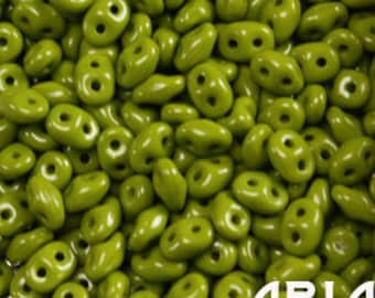 DARK OLIVE: SuperDuo Two-Hole Czech Glass Seed Beads, 2.5x5mm (10 grams)