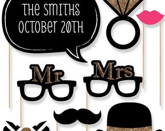 20 pc. Mr. & Mrs. - Gold - Wedding Photo Booth Props - Printed and Cut Kit with Mustache, Hat, Bow Tie, Glasses and Custom Talk Bubble