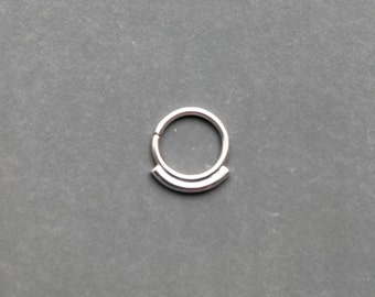 Septum ring in solid sterling silver for pierced nose