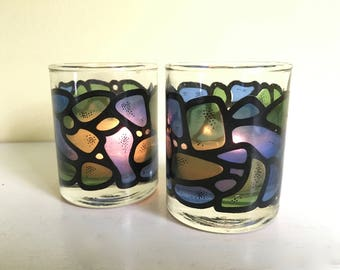 Vintage Glass Votive Set, Pebble Design, Beach House Decor, Outdoor Entertaining