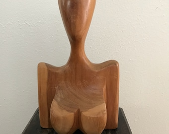 MID CENTURY CARVED wood Bust