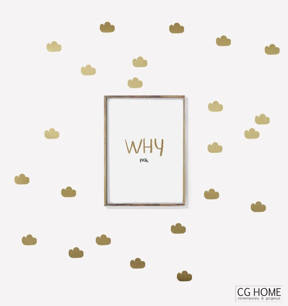 Cloud Wall Decals Gold Nursery Baby Room Decals Cute Stickers Baby Wall Decals Decoration for kids toddlers geometrical candi style pattern