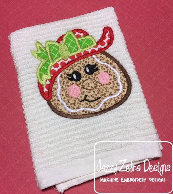 Gingerbread Girl wearing floppy hat Applique Embroidery Design - gingerbread woman appliqué design - Christmas Applique Design