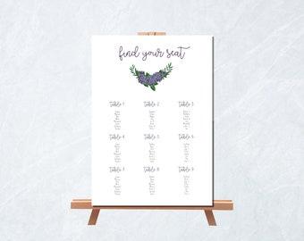 Seating Chart Printable - Wedding Seating Chart - Hydrangea