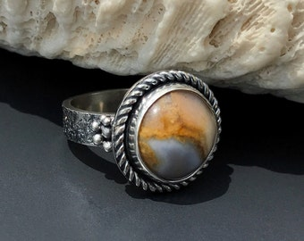Lake Superior Agate Ring, Size 7 Sterling Silver, Unique Seascape Theme Hand Fabricated Art Jewelry, Round Grey and Brown Stone