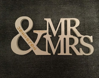 Free standing personalised Mr & Mrs
