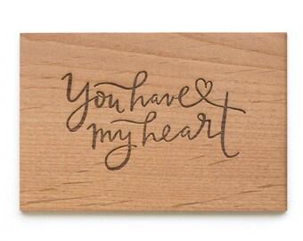 You Have My Heart Wood Love Card [Five Year, Fifth, 5th Anniversary / Custom Anniversary Card / Valentine Card / Boyfriend or Girlfriend]